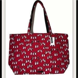 Vera Bradley Iconic Grand Tote Playful Penguin Red